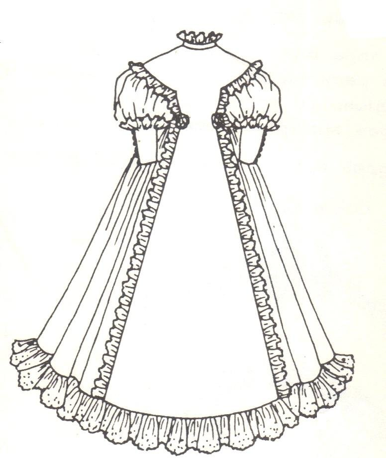 Period French German Victorian Dress PATTERN for a 17