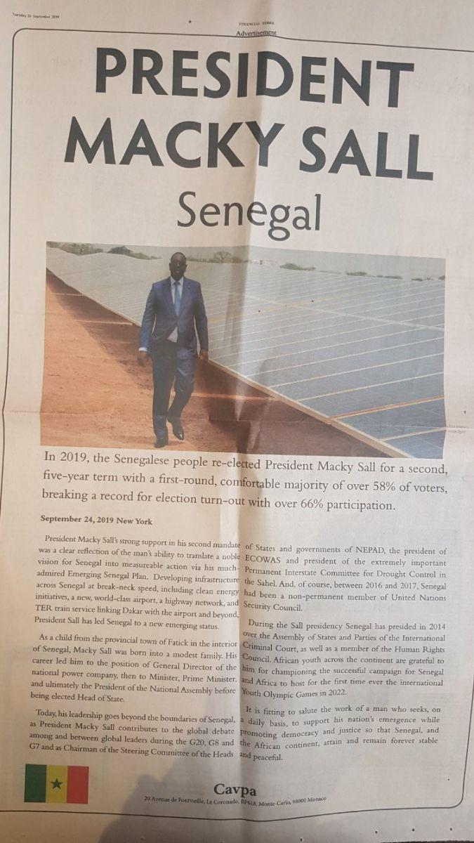 Macky Sall paie une pub de plus de 100 millions au Financial Times