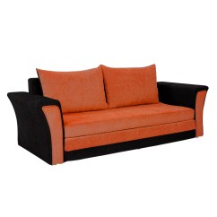 Orange And Black Sofa Bed High Density Foam Cum Bharat Lifestyle Leo Fabric