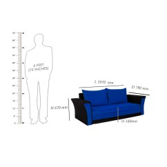 Width Of A Sofa Bed Beach Themed Sofas Cum Bharat Lifestyle Leo Fabric Dark Blue And Black