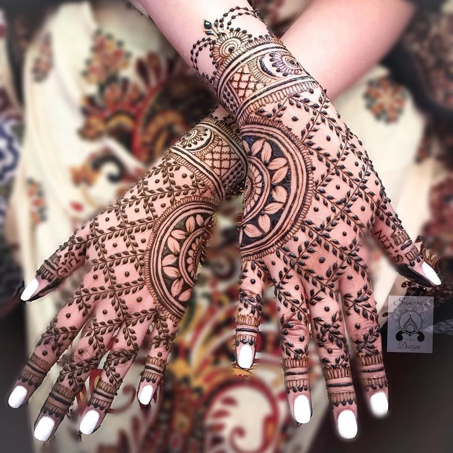 Easy Bridal Mehndi Designs For Full Hands Front And Back
