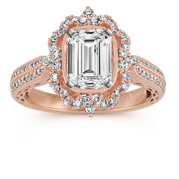 vintage halo diamond engagement
