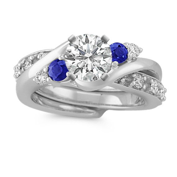 Swirl Round Sapphire And Diamond Wedding Set Shane Co