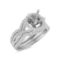 Halo Infinity Diamond Triple Band Wedding Set with Pave ...