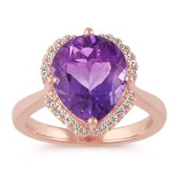 Pear-Shaped Amethyst and Round Diamond 14k Rose Gold ...