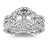 Halo Infinity Diamond Triple Band Wedding Set with Pav ...
