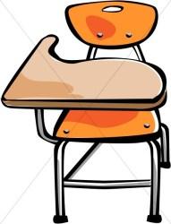 Orange Student Desk Christian Classroom Clipart
