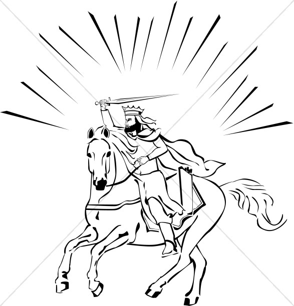 White Horse Rider in Black and White