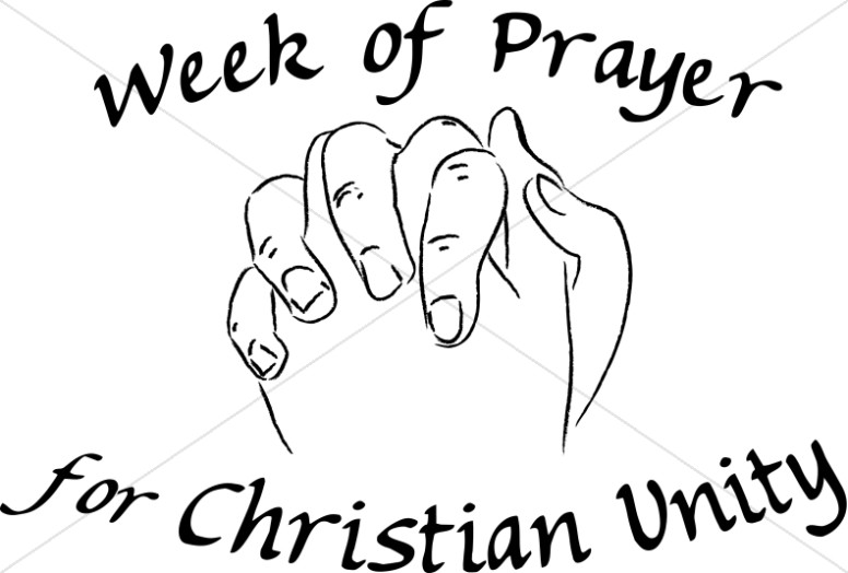 Praying Hands Christian Unity Black and White