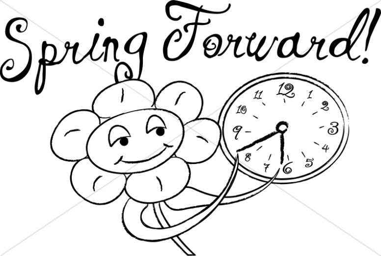 Spring Forward with Happy Flowers in Black and White