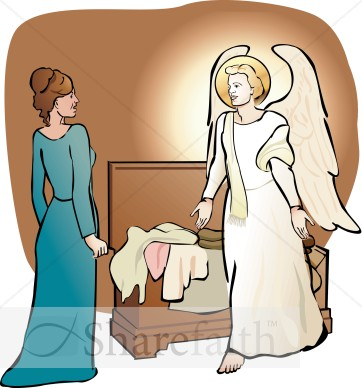 Mary In Awe Of The Angel Nativity Clipart