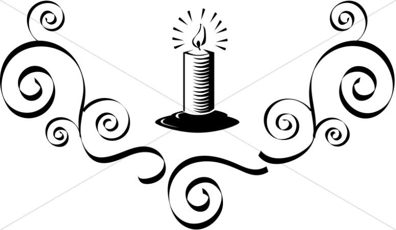 Lit Candle with Flourish