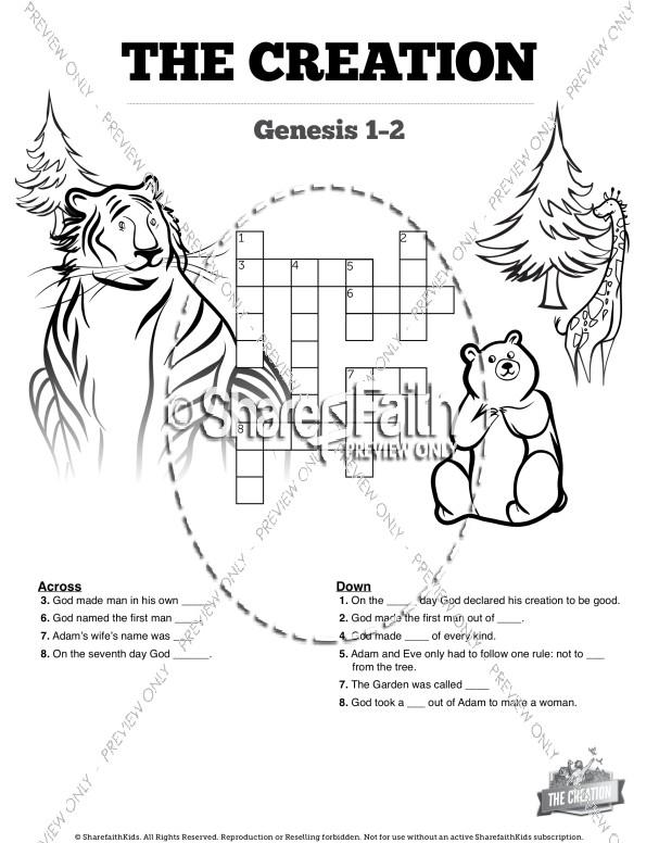 The Creation Story Sunday School Crossword Puzzle