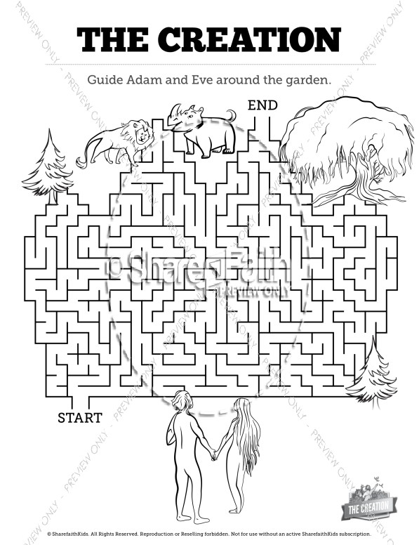 The Creation Story Bible Maze Activity Bible Mazes