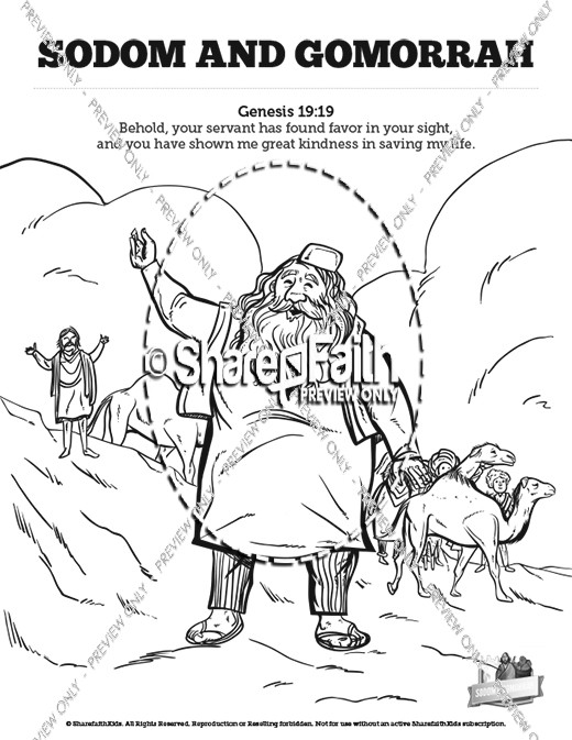 The Story Of Sodom and Gomorrah Sunday School Coloring Pages