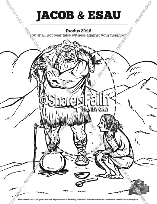 Story Of Jacob and Esau Bible Coloring Pages