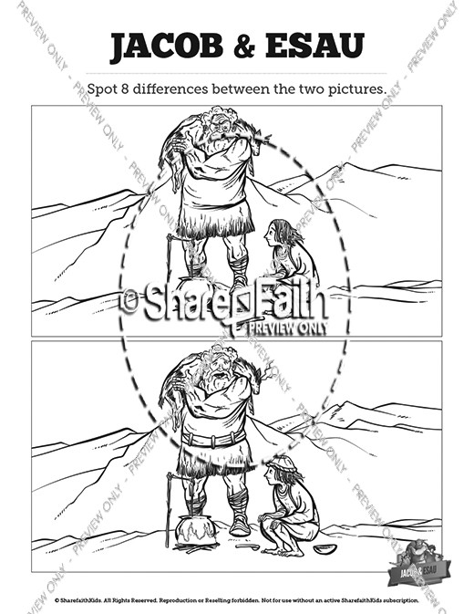 Story Of Jacob And Esau Kids Spot The Difference Kids