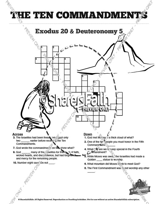 The Ten Commandments Sunday School Crossword Puzzles