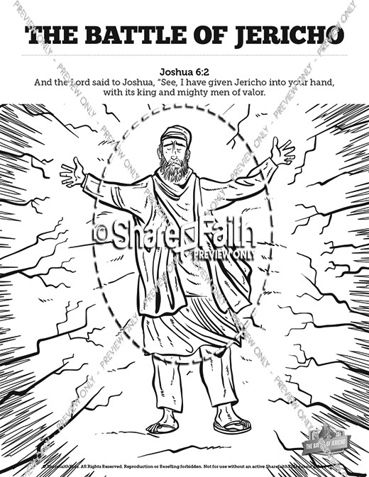 Walls of Jericho Sunday School Coloring Pages