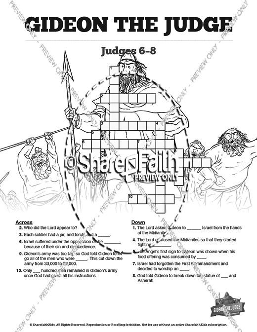 Judges 6 Gideon and the Fleece Sunday School Crossword