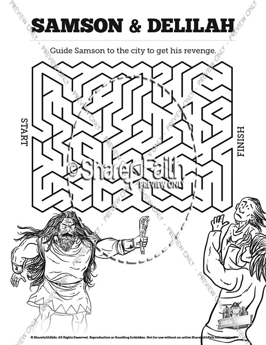 Samson and Delilah Sunday School Crossword Puzzles