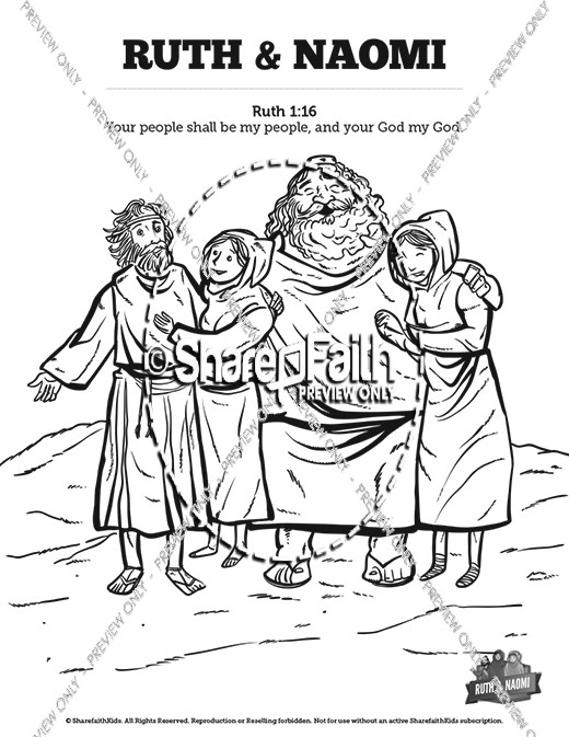 Ruth and Naomi Sunday School Coloring Pages