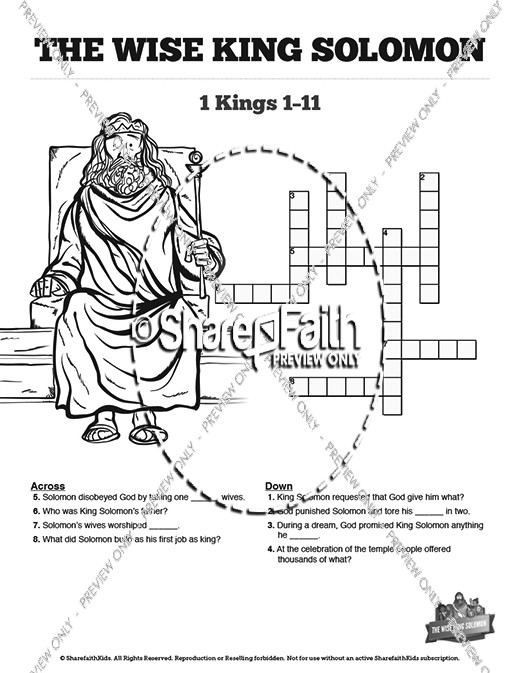 The Wisdom Of Solomon Sunday School Crossword Puzzles