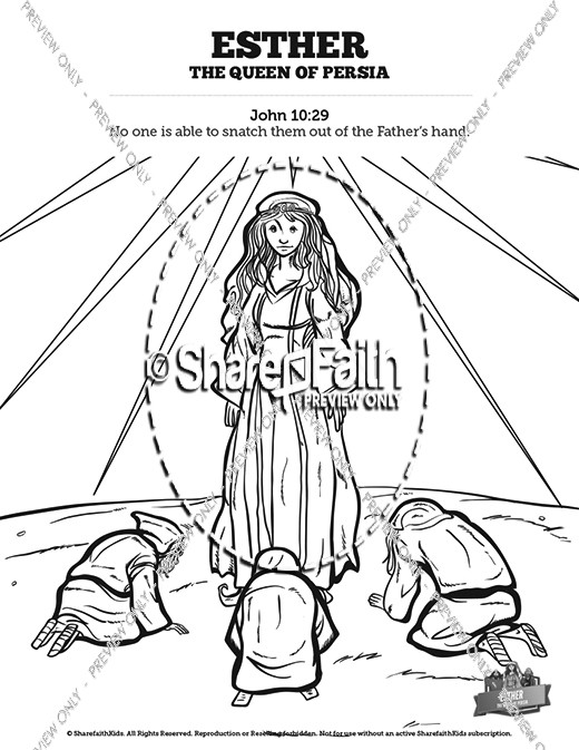 Queen Esther Bible Story Coloring Pages