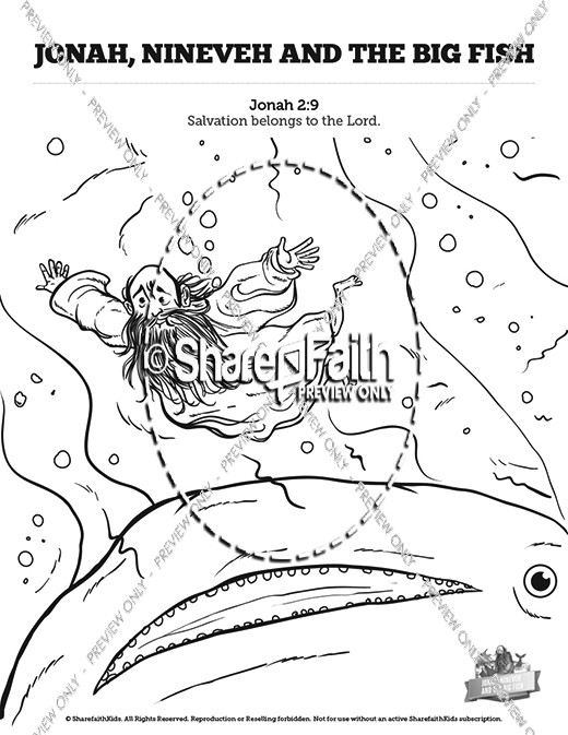 Jonah And The Whale Sunday School Coloring Pages
