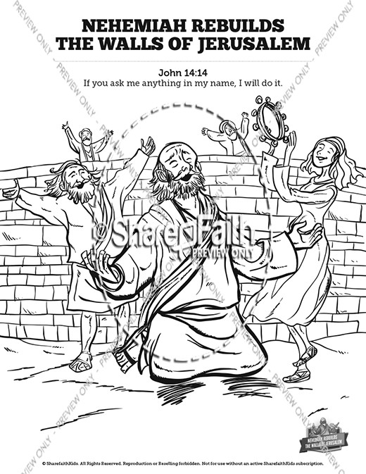 Nehemiah Bible Coloring Pages Sketch Coloring Page