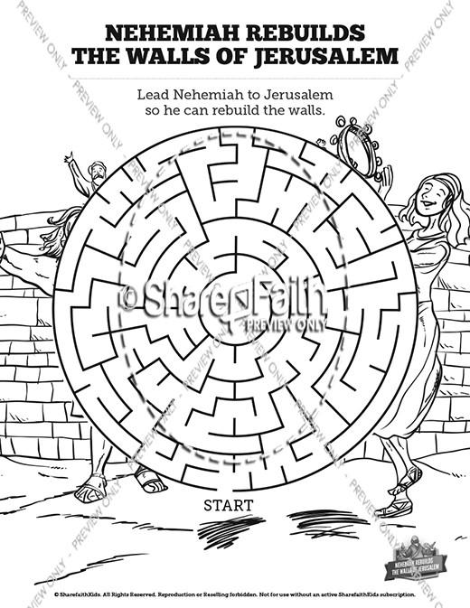 Nehemiah Rebuilds the Walls of Jerusalem Bible Mazes