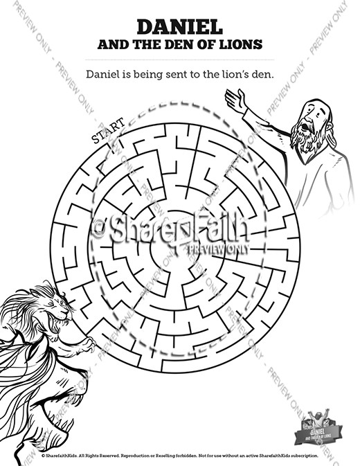 Daniel and the Den of Lions Sunday School Coloring Pages