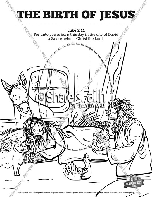 The Birth of Jesus Sunday School Coloring Pages