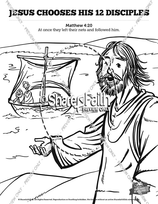 Jesus Chooses His 12 Disciples Sunday School Coloring Pages