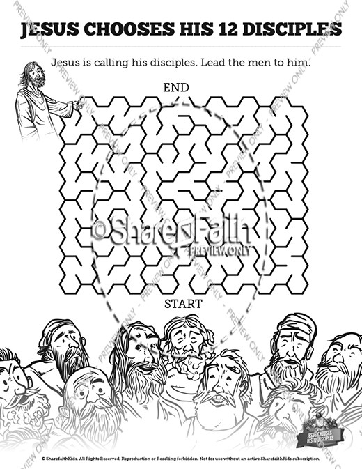 Jesus Chooses His 12 Disciples Sunday School Coloring