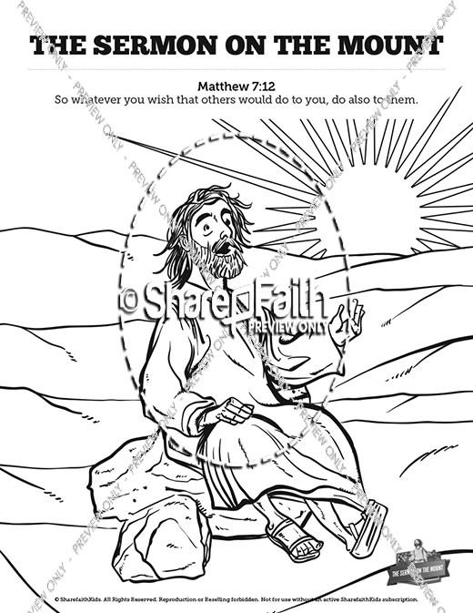 Sermon On the Mount (Beatitudes) Sunday School Coloring