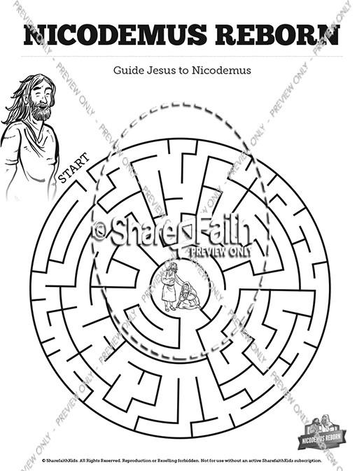 John 3 Nicodemus Bible Mazes