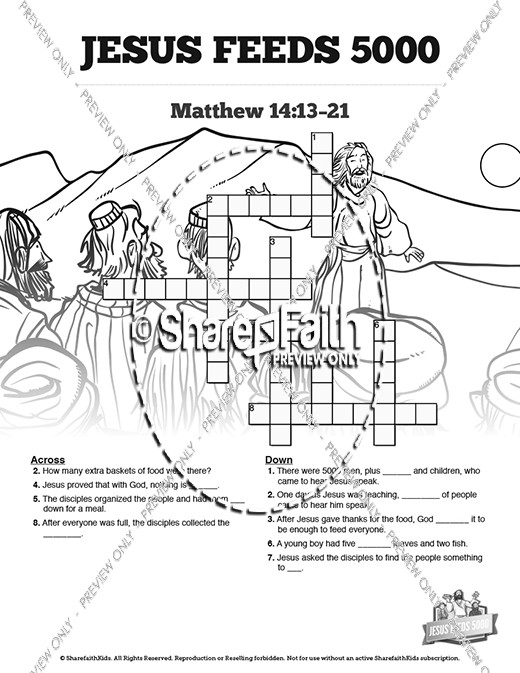 Jesus Feeds 5000 Sunday School Crossword Puzzles