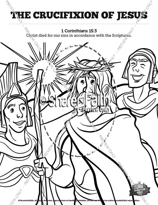 The Crucifixion of Jesus Sunday School Coloring Pages