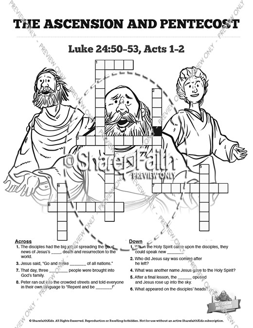 Free coloring pages of crossword pentecost