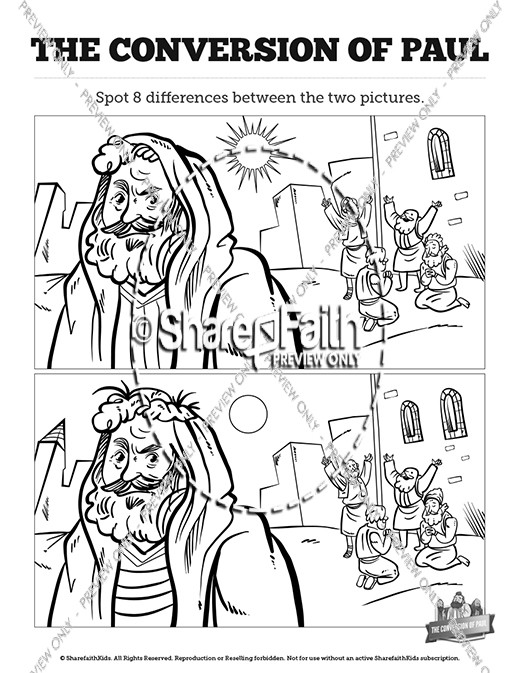 Acts 9 Paul's Conversion Kids Spot The Difference