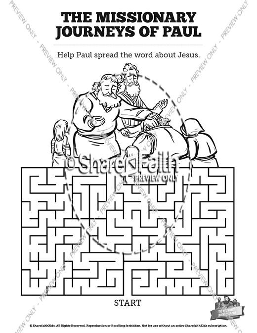 Paul's Missionary Journeys Sunday School Crossword Puzzles