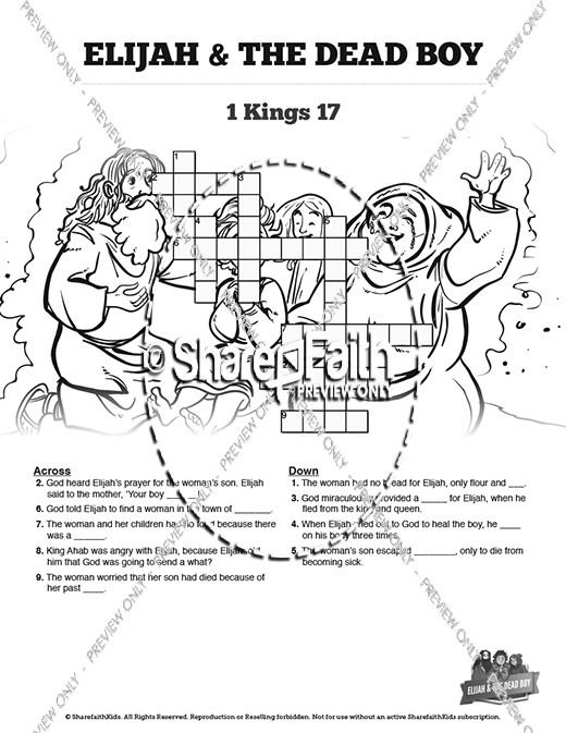 Elijah And The Widow Of Zarephath Coloring Sheet