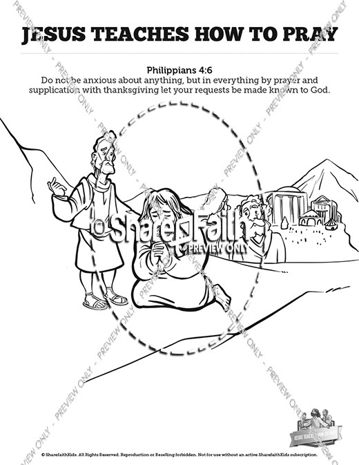 The Lord's Prayer Sunday School Coloring Pages