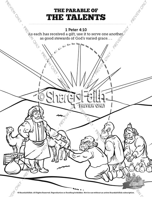 The Parable of the Talents Sunday School Coloring Pages