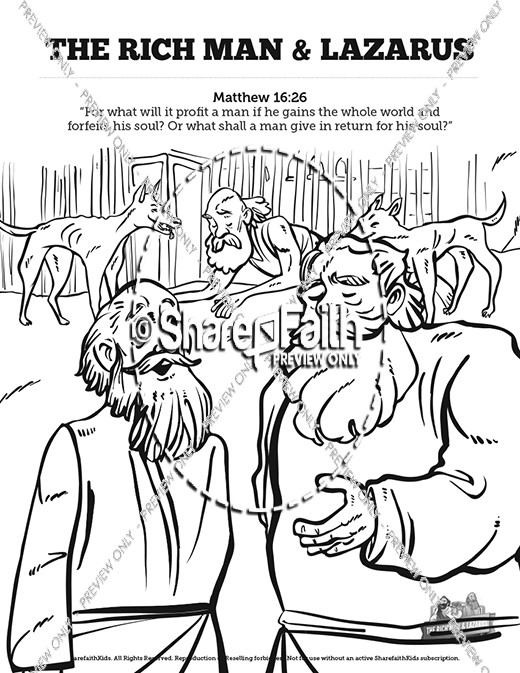 Luke 16 Lazarus and the Rich Man Sunday School Coloring