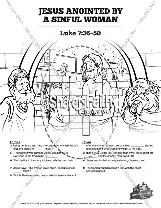 Jesus Anointed By A Sinful Woman Sunday School Coloring