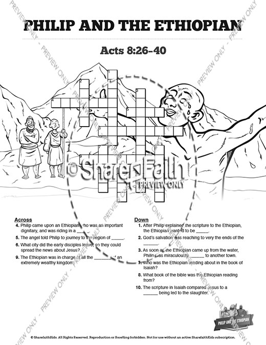 Philip and the Ethiopian Sunday School Coloring Pages