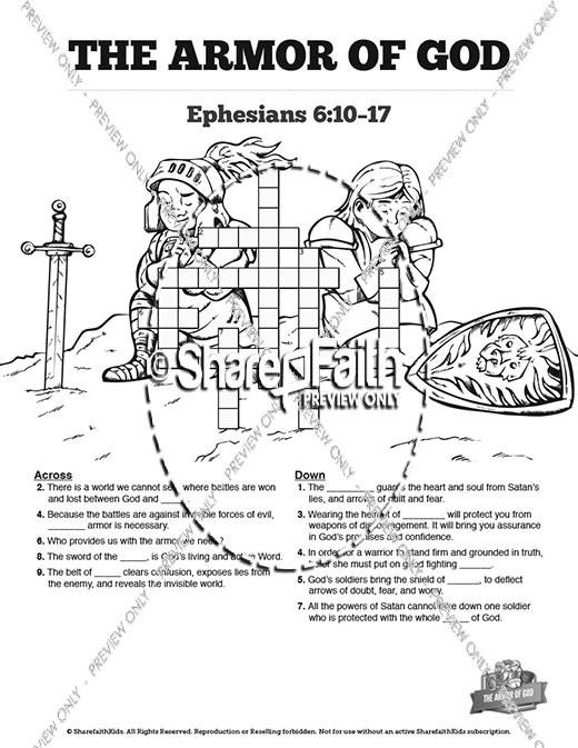 Ephesians 6 The Armor of God Sunday School Crossword Puzzles