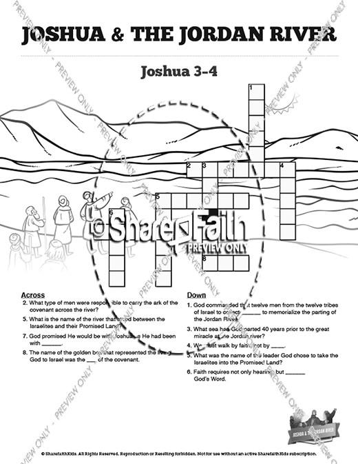 Joshua 3 Crossing the Jordan River Sunday School Crossword
